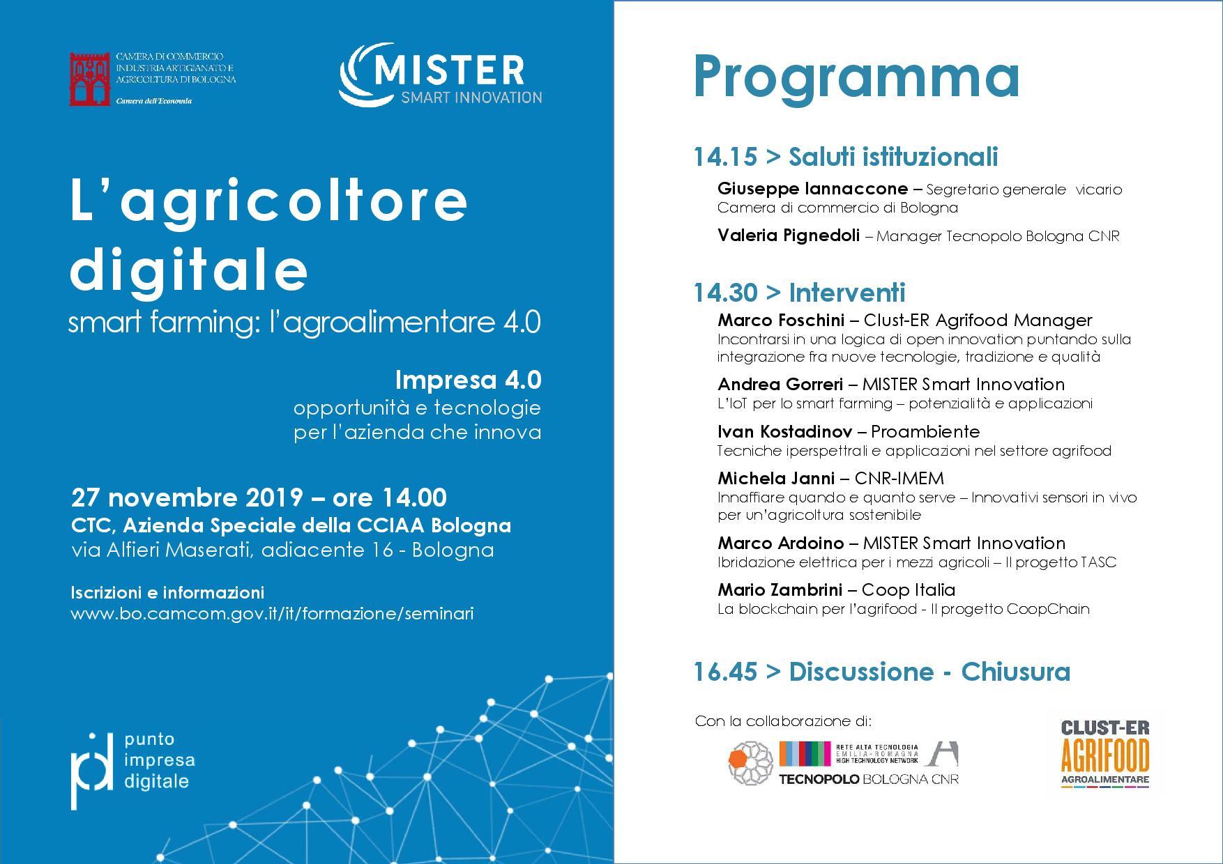 L'agricoltore digitale e lo smart farming: il 27 novembre workshop con la CCIAA